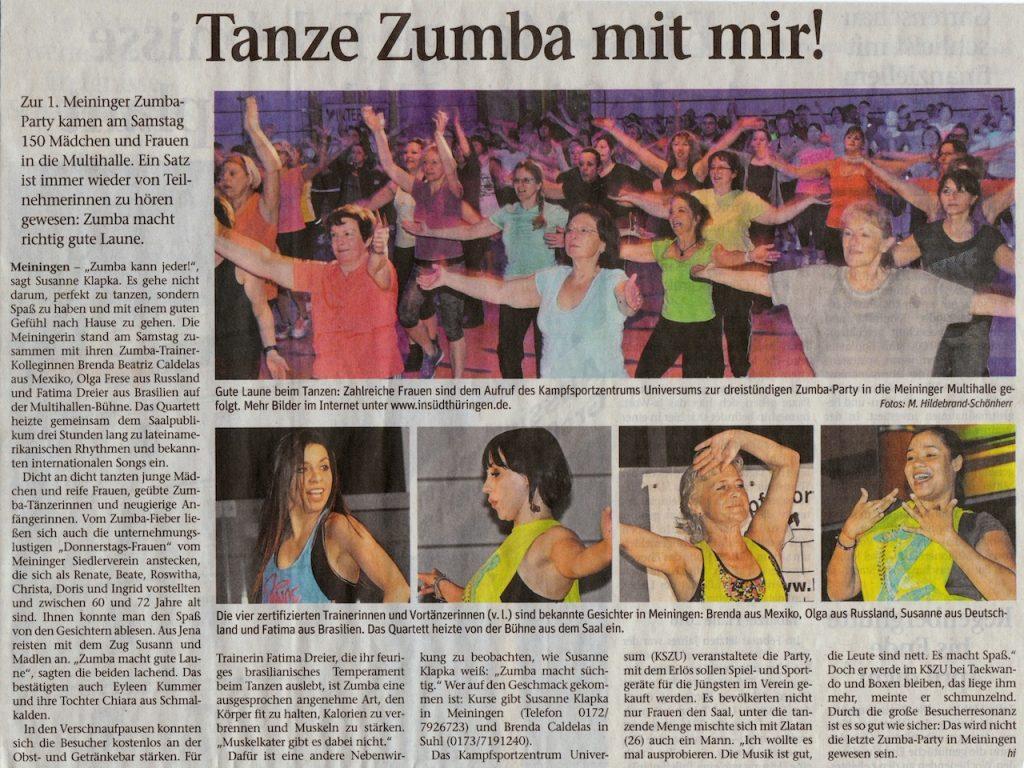 Tanze Zumba mit mir Party Wochenspiegel vom 18.01.2016